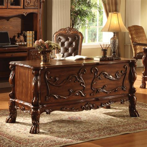 traditional antique solid carved wood office desk table