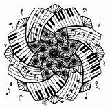 Coloring Piano Mandala Therapy Pages Musique Coloriage Notes Musical Guitar sketch template
