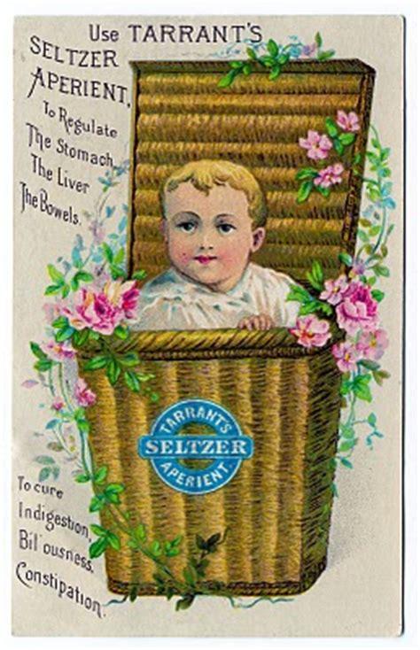 vintage clip art baby   basket seltzer trade card