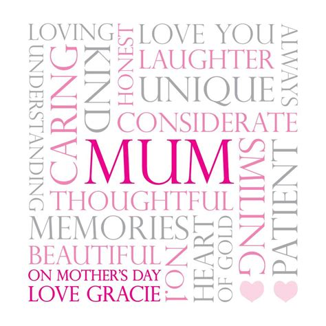personalised mum mothers day word card  jodie gaul