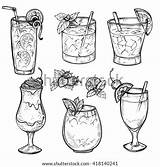 Sketch Cocktails Hand Alcohol Drinks Vector Cocktail Glass Juice Drawn Illustration Whiskey Margarita Milk Whisky Template Coloring Drink Pages Shot sketch template