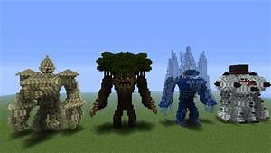 sandstone,wood,ice, and snowman golems by 321kye on DeviantArt