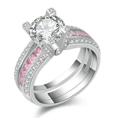 round pink sapphire white cz 925 sterling silver wedding