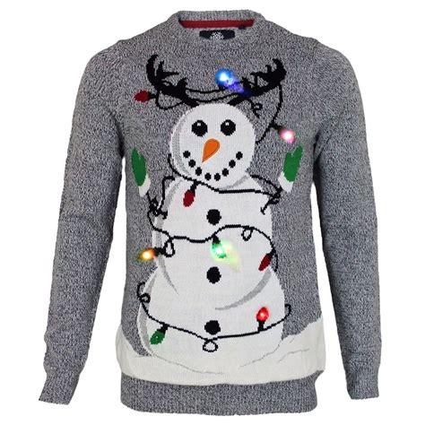 mens threadbare novelty light up tangled snowman pullover
