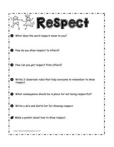 respect worksheet teaching respect teaching kids