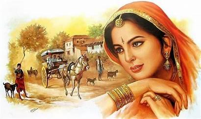 Woman Rajasthani Indian Painting Wallpaperaccess Paintings Wallpapers
