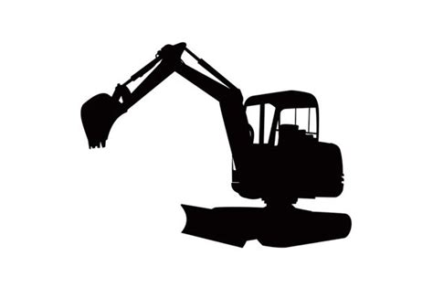 mechanical digger excavator retro illustrations creative market