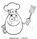 Spatula Mascot Lineart Egg Chef Holding Character Cartoon Coloring Poster Template sketch template