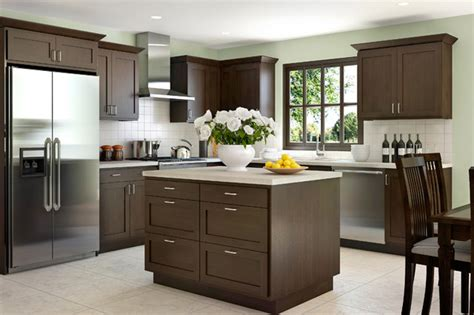 java cabinets kitchen creek cornerstone shaker in beech with a java 2044