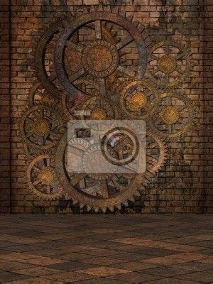 steampunk background wall mural vinyl pixers