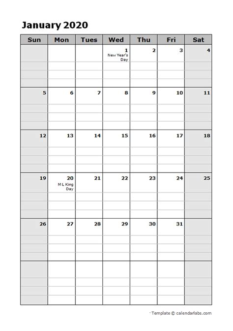 daily planner calendar template  printable
