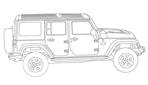 4 door jeep drawing jeep wrangler unlimited coloring book page jeep