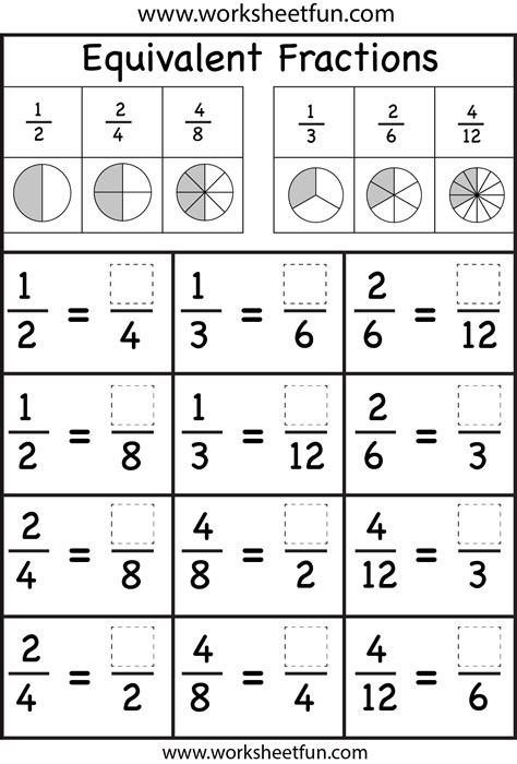 equivalent fractions worksheet free printable worksheets