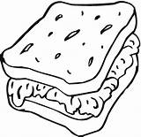Sandwich Bread Coloring Slice Drawing Pages Drawin Cartoon Toast Getdrawings Friends Colorings Printable Getcolorings Sam sketch template