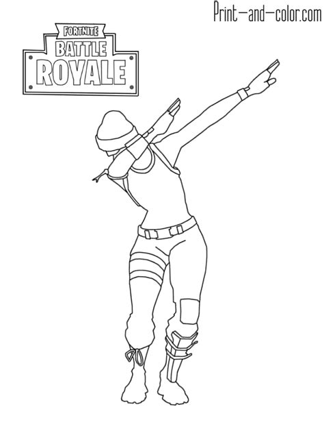 fortnite battle royale coloring page dab emotes fortnite