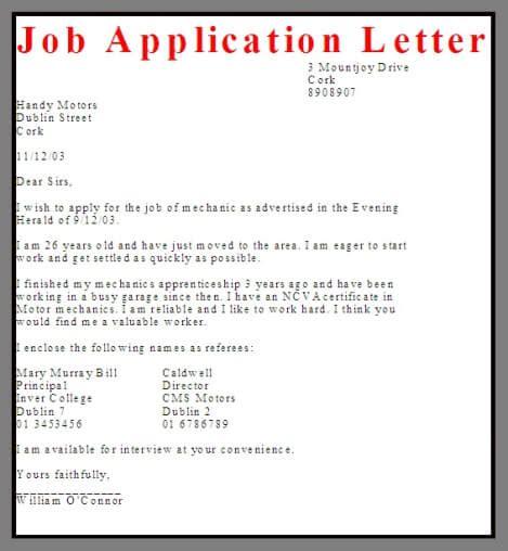 application letter sle business letter exles
