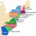 THE 13 COLONIES   now.here