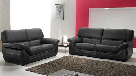 ensemble canapé 3 2 1 salon cuir 5 places noir pas cher canapé 3 2