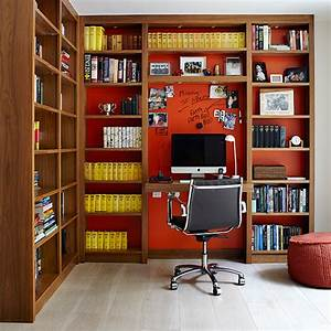 Library, Style, Home, Office, With, Fitted, Work, Station