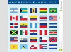 Set Of Americas Flags, Vector Illustration Stock Vector
