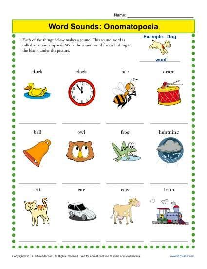 word sounds onomatopoeia worksheets reading skills and