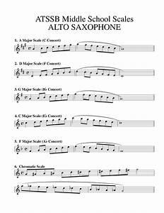 Tenor Saxophone Chart Saxaphone Major Scales In Concert Atssb Middle School