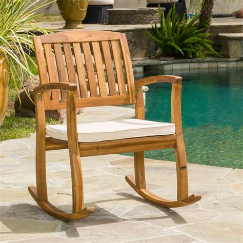 noble house selma teak finish wood outdoor rocking chair