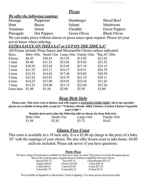 136 plaza dr, dixon, il. Online Menu of Al & Leda Pizzeria Restaurant, Dixon, Illinois, 61021 - Zmenu