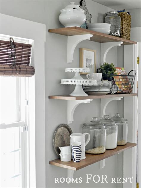 Open Shelves In The Kitchen Greyt On The Walls