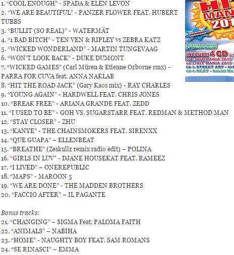 canzoni 2015 testi canzoni 2015 elenco canzoni hit mania 2015 compilation