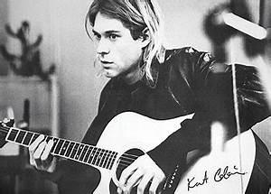 Kurt Cobain - guitar b&w PY Poster, Kunstdruck bei ...