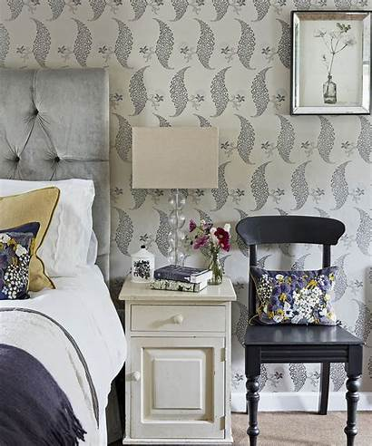 Bedroom Bed Wallpapers Wall Floral Pattern Gorgeous