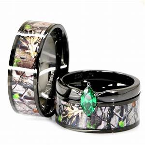 His her black titanium camo marquise stainless steel for Black titanium wedding rings for her