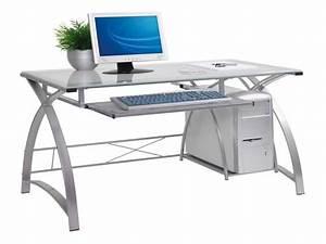 White computer desks, modern glass house modern white