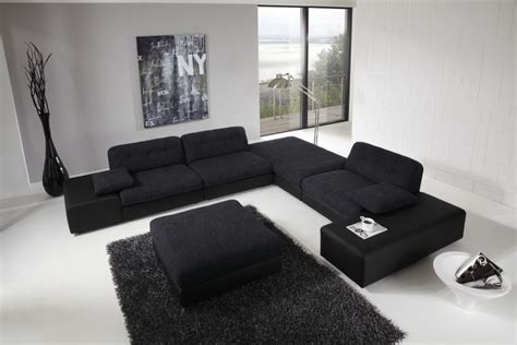 Large Black Sofa For Modern Living Room Design With High