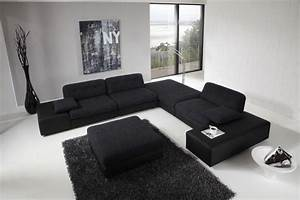 large black sofa for modern living room design with high With divan designs for living room