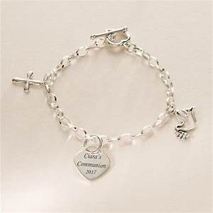 Sterling Silver Charm Bracelet with Dove and Cross Charms ...