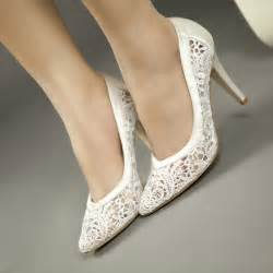 wedding shoes 2 inch heel 2015 cutout satin fabric high heel lace wedding shoes shallow pointed toe