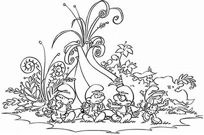 Village Coloring Smurfs Pages Lost Smurf Printable