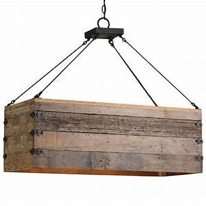 Natural rustic lodge rectangular wood cart light island