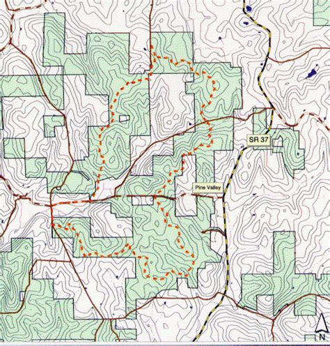 topographic map  youngs creek trail  hoosier national