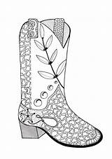 Cowboy Boot Coloring Adult Boots Drawing Line Colouring Printable Hat Favecrafts Drawings Getdrawings Clipart Paintingvalley sketch template