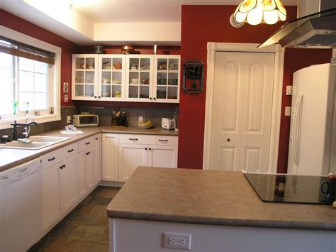 cabinets red painted wall kitchen corner pantry cabinet