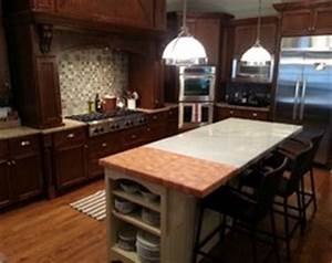 quartz to butcher block transition With best brand of paint for kitchen cabinets with atlanta falcons wall art