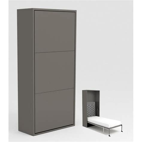 armoire lit escamotable stone 90x200 gris achat vente