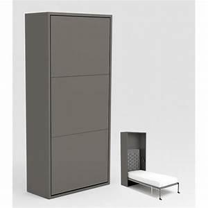 Lit Escamotable Armoire : armoire lit escamotable stone 90x200 gris achat vente ~ Premium-room.com Idées de Décoration
