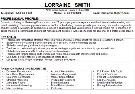 marketing manager cv sle