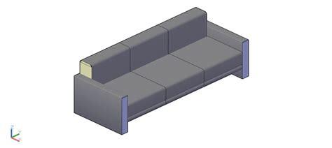 sofa 3 plazas dwg bloques autocad gratis de sof 225 de 3 plazas en 3d modelo 03