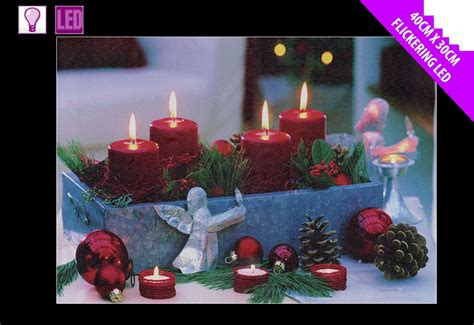 festive light up led canvas picture christmas candle pine