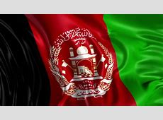 Afghanistan State Flag Waving And People Walking In The